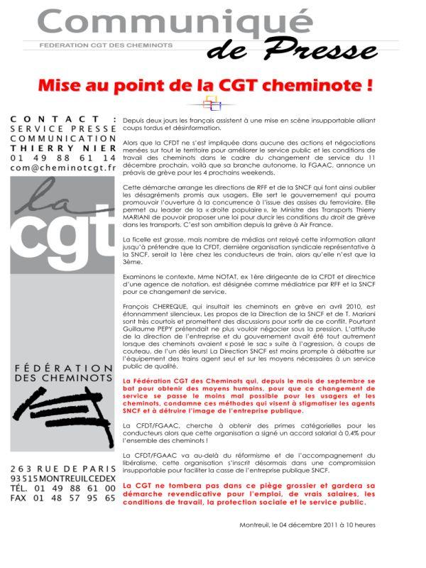 GREVE à la SNCF : Mise au point FD CGT Cheminots