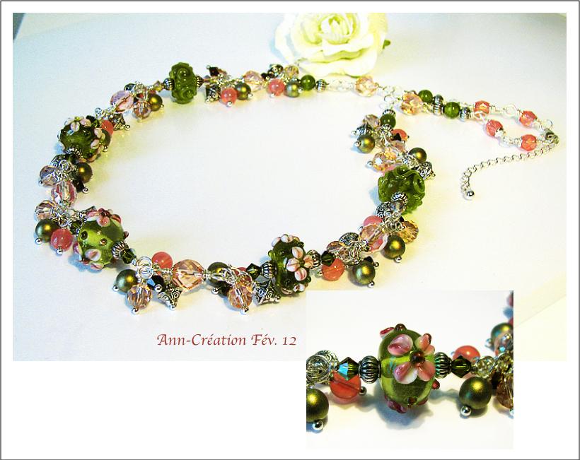 Collier Grappe Fleurs Verre Lampwork / Plaqué Argent
