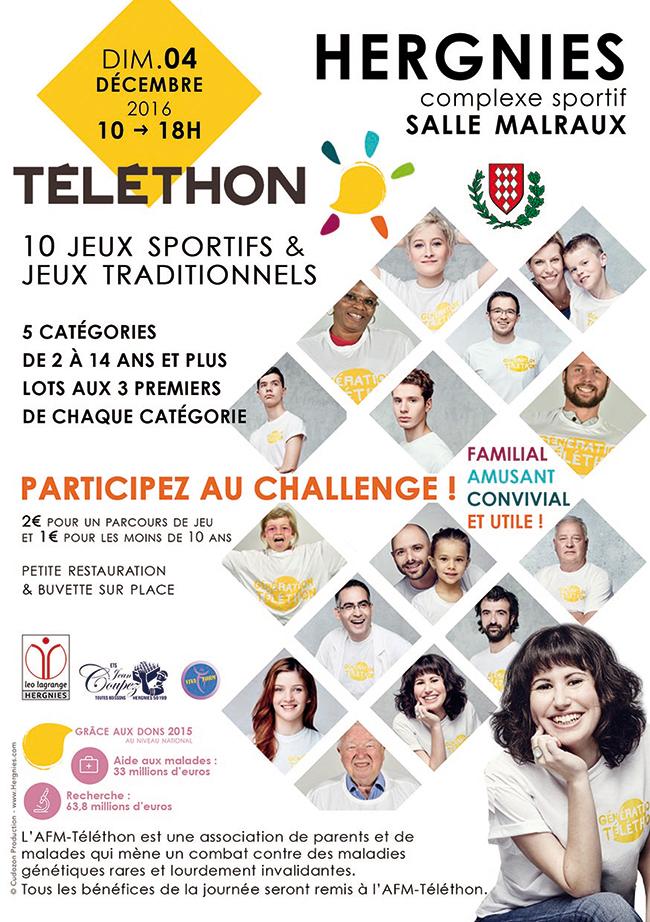 Téléthon 2016, Challenge jeux sportifs et traditionnels, à Hergnies