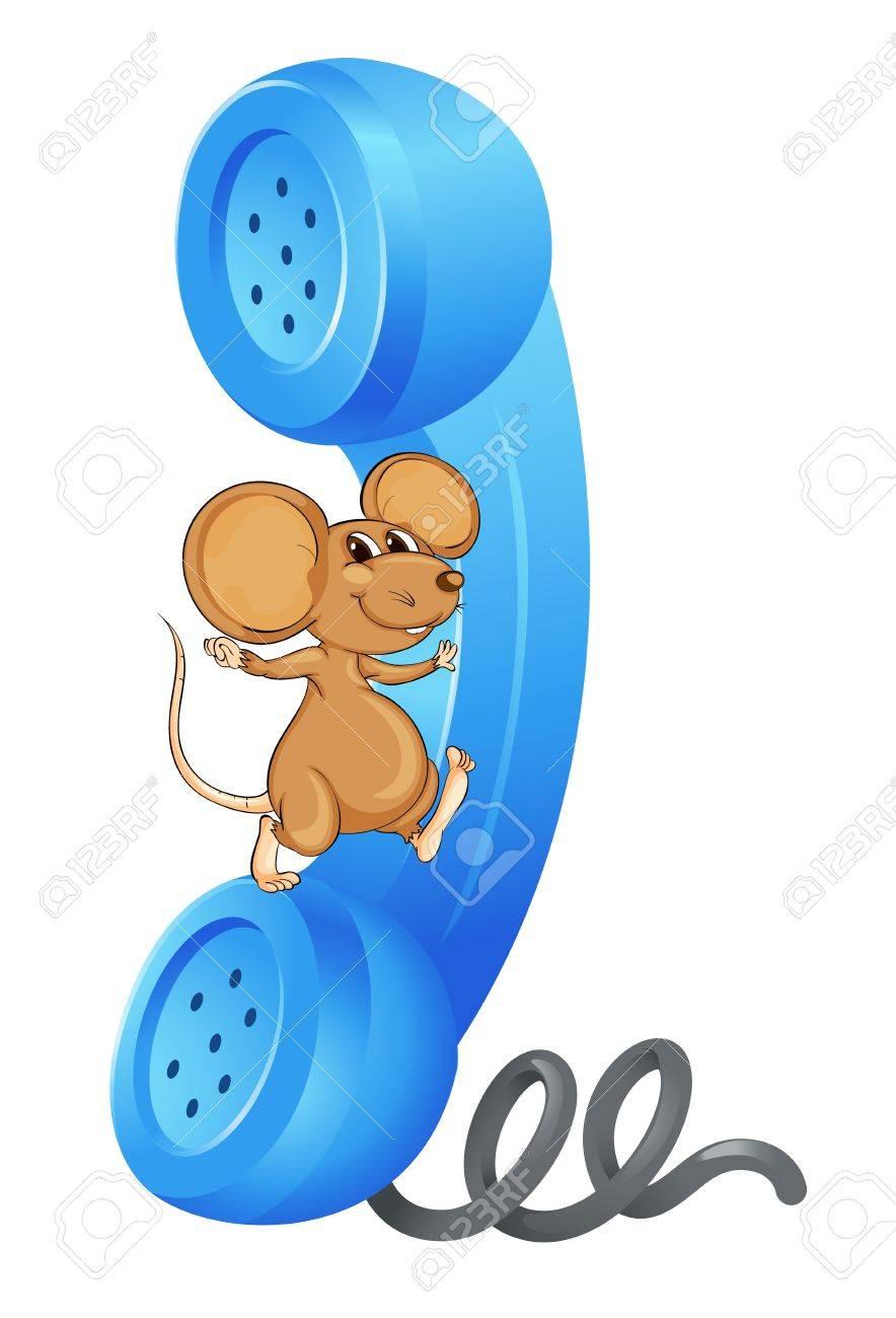 Illustration D'une Souris Avec Le Récepteur De Téléphone Sur Un Fond Blanc  Clip Art Libres De Droits , Vecteurs Et Illustration. Image 14253639.