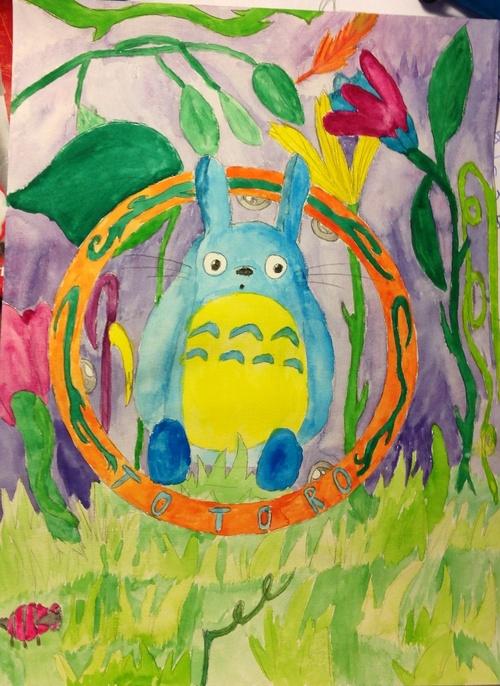 Totoro crayon a papier et aquarelle