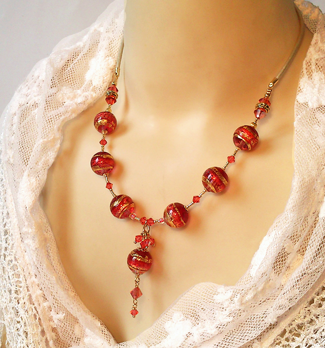 Réservé - Collier Pendentif Verre de Murano authentique Rose Corail Feuille d'Or 24 kt / Plaqué Or