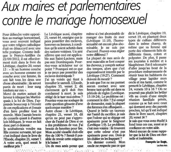 contre le mariage homosexuel