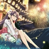 Konachan.com - 159998 brown_eyes brown_hair fireworks grass japanese_clothes long_hair mask night or