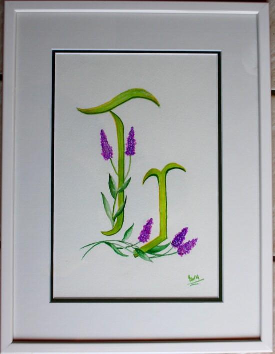 Monogrammes en aquarelle, dont 1 en pas à pas...