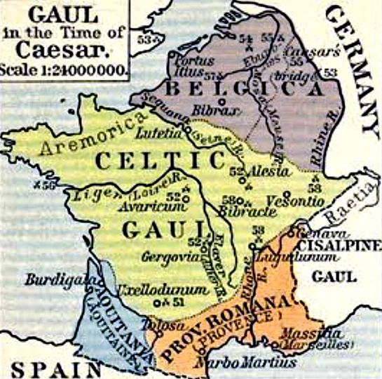 Map of Gaul at the time of Julius Caesar (mostly 50s BCE).: