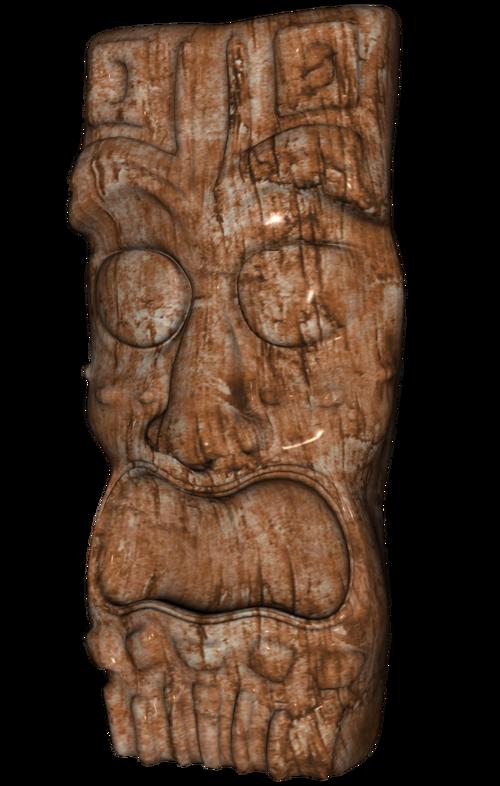 Tube de Tiki fétiche Tahitienne (render-image)