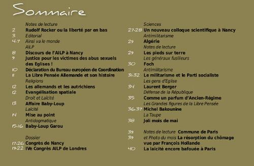 LA RAISON, Sept-Oct, UN BON SOMMAIRE