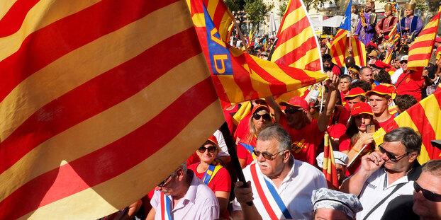 """Perpignan : plusieurs milliers de manifestants pour le nom """"Pays Catalan"""""""
