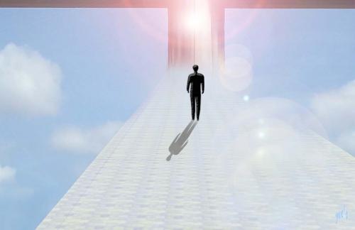 Art numérique, Homme, Lumière, ciel