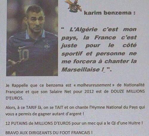 Karim Benzema n'est pas un traître à son pays