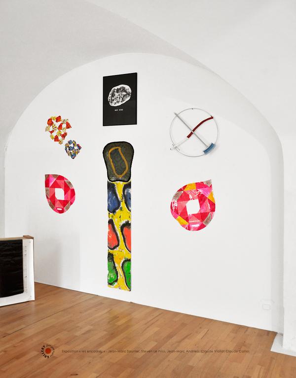 Exposition-les encadrés-Artistes Saulnier Le Priol Andrieu Viallat Caillol. Galerie Point-to-Point