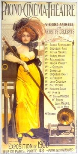 Affiche annonçant les artistes présentés aux projections de cinéma sonore du système Phono-Cinéma-Théâtre à l'exposition universelle de Paris (1900).