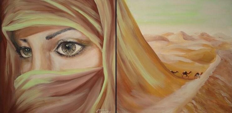 Peinture Femme voilée de Véronique Carpentier
