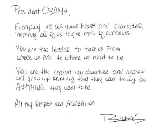 Beyonce écrit une lettre à Barack Obama