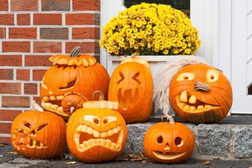 citrouille d'Halloween creusée-motifs-visages