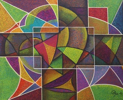 abstrait huile sur toile 48x36