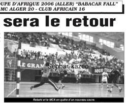 2006 supercoupe d'Afrique Aller MCA-Club Africain (Tunisie) 20-16