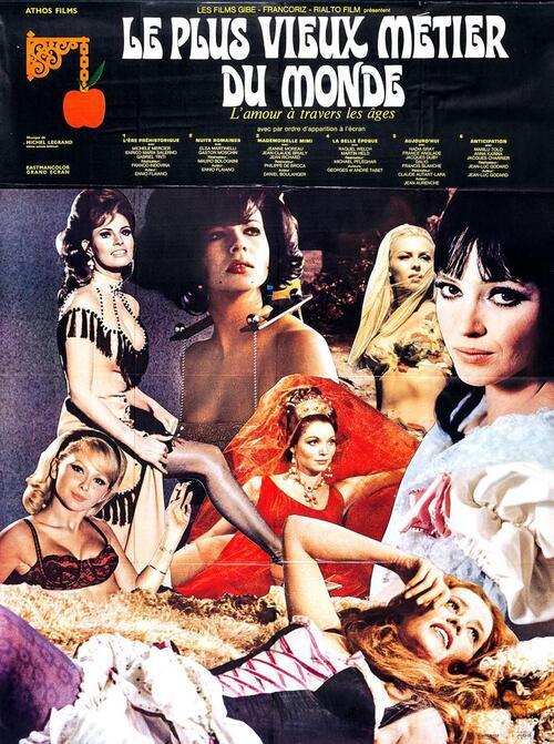 """Jean Richard et Jeanne Moreau dans le film   """" le plus vieux métier du monde  """" en 1967"""