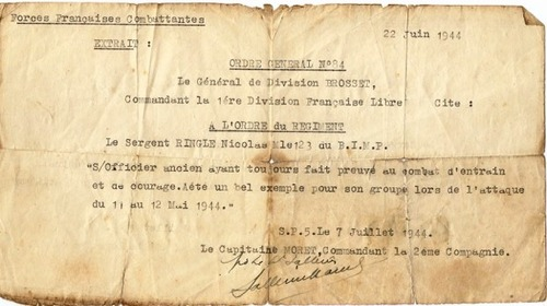 Trésor d'Archives - Le sergent-chef Nicolas RINGLE, F.F.L. du 1er Bataillon d'Infanterie de Marine