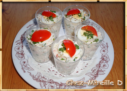 Verrines Crabe Fromage Frais et Noix de Cajou