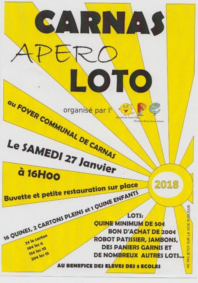 Loto Apéro Carnas 27/01/2018 16h00