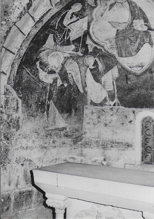 Détails de la fresque ( XIIIème) de la chapelle saint Michel
