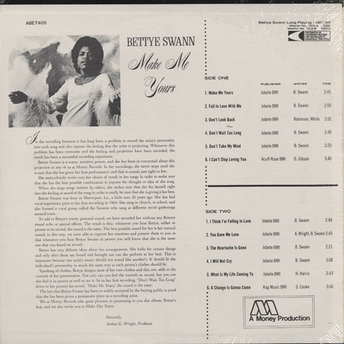 "Bettye Swann : Album "" Make Me Yours "" Money Records LP 1103 [ US ]"
