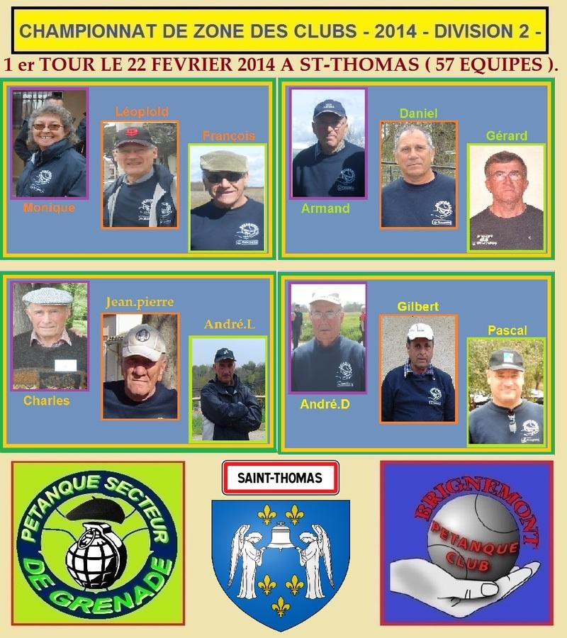1er TOUR DU CHAMPIONNAT DE ZONE DES CLUBS -DIVISION 2-