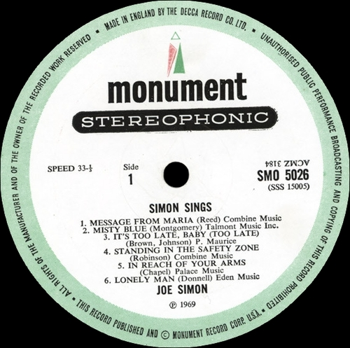 "1968 : Joe Simon : Album "" Simon Sings "" Sound Stage 7 ‎Records SSS-15005 [ US ]"