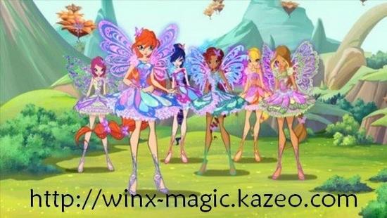 Les Winx Butterflix dans le parc d'Alfea
