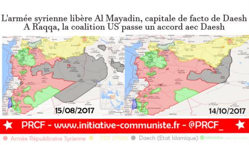 La Syrie libère Al Mayadin, la coalition US passe un accord avec Daesh à Raqqa, la Turquie envahit la province d'Idleb (IC.fr-15/10/17)