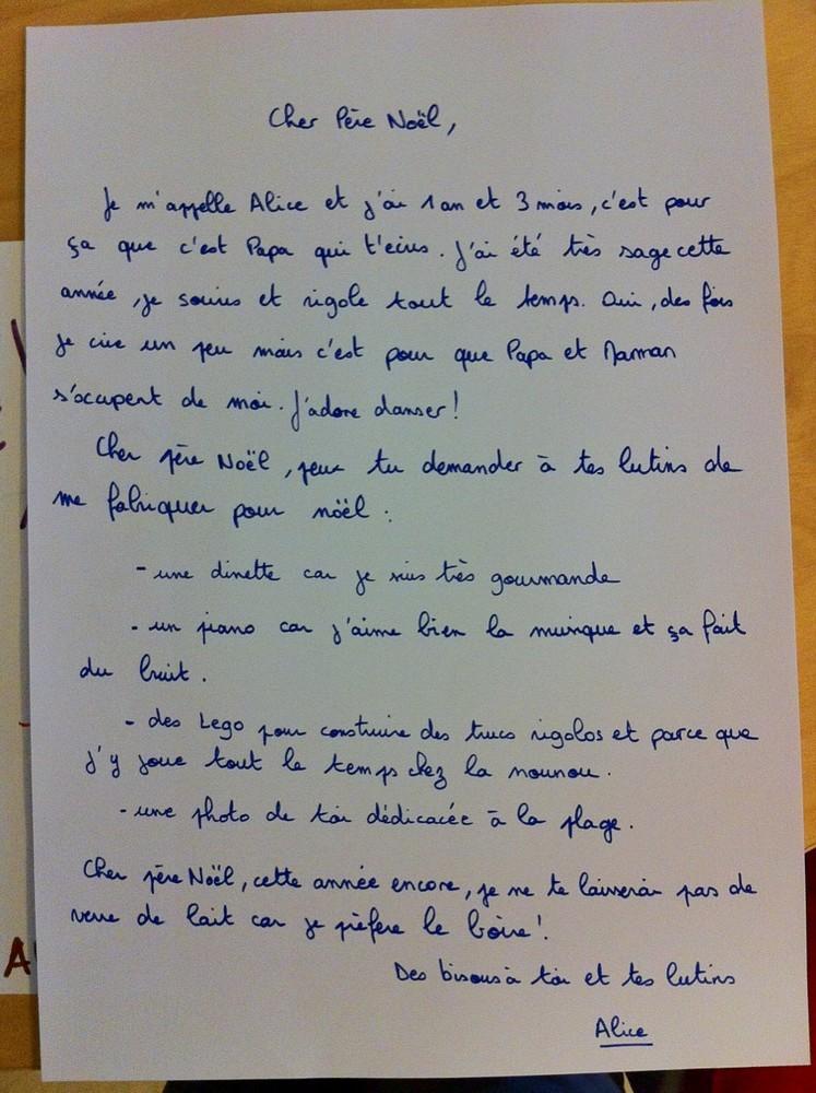 La lettre d'Alice au Papa Noël...