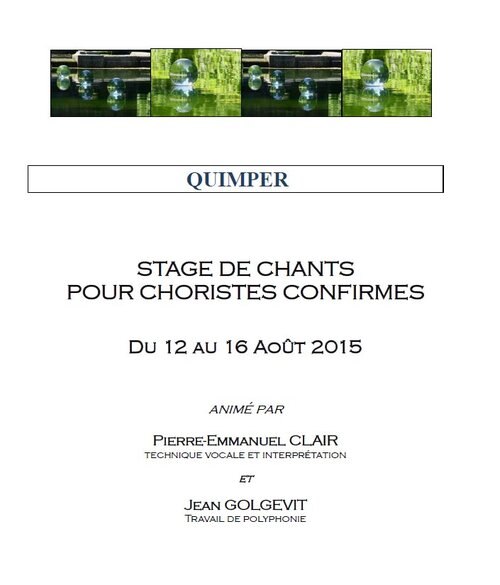 Stage de chants du 12 au 16 août 2015