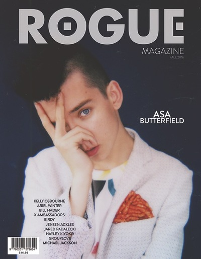 Asa Butterfield was also on the cover of Rogue magazine with, once again, the one-eye sign. How can one not acknowledge the insistence of the symbol across mass media? These celebrities are all telling us that theyre slaves to a system and nobody is seeing it.