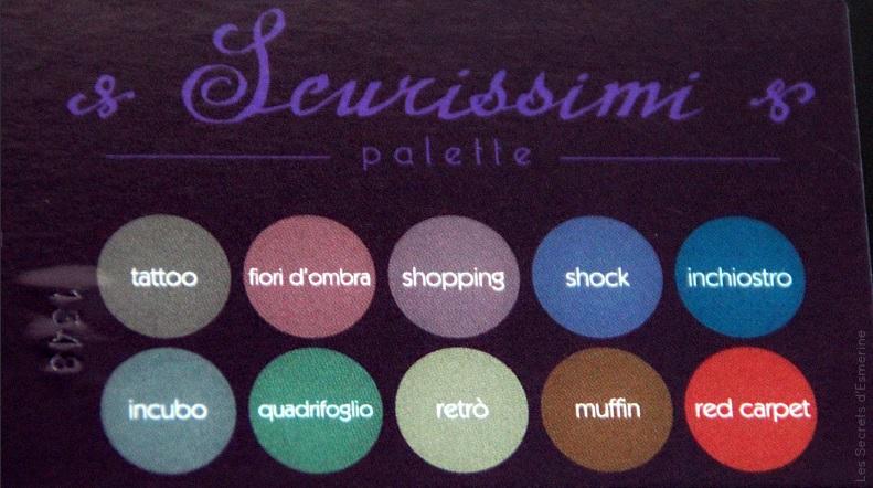 noms des fards scurissimi - palette neve cosmetics - makeup mineral