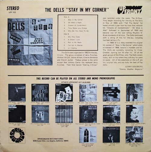 "The Dells : Album "" Stay In My Corner "" UpFront Records UPF-103 [ US ]"
