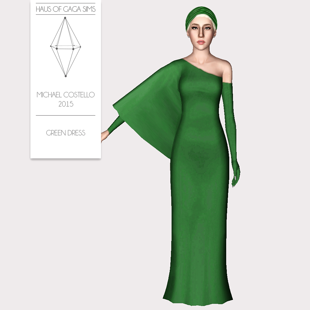 MICHAEL COSTELLO 2015 GREEN DRESS