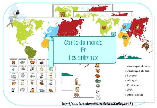 carte du monde et animaux