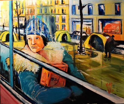 """ ligne 29- gare St Lazare - Porte de Montempoivre""     huile sur toile 65X54"