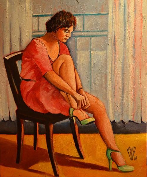 """"""" La Femme aux souliers verts """"  Huile sur toile 50X61"""