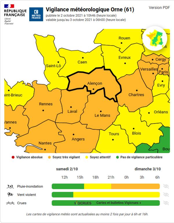 Orne : Vigilance ORANGE – Pluies - Inondations