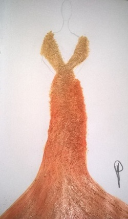 n°58: Dessin Robe Dorée (Drawing Gold Dress)