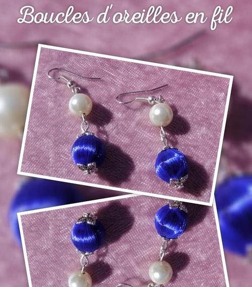 Boucles d'oreilles en fil bleu nuit et perles de culture fantaisie
