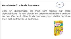 Vocabulaire 2 : « Se servir d'un dictionnaire » V2 (CE1)