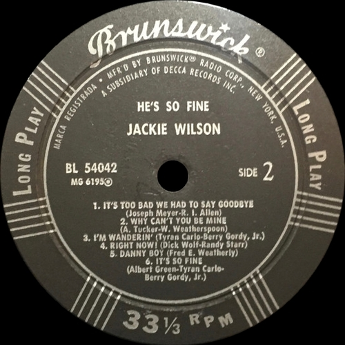 "Jackie Wilson : Album "" He's So Fine "" Brunswick Records BL 54042 [ US ]"