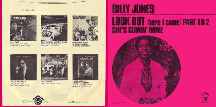 "Billy Jones & The Stars : Album "" Love Is Gonna Rain On You "" Catfish Records 5C 054.24.306 [ NL ] 1970"