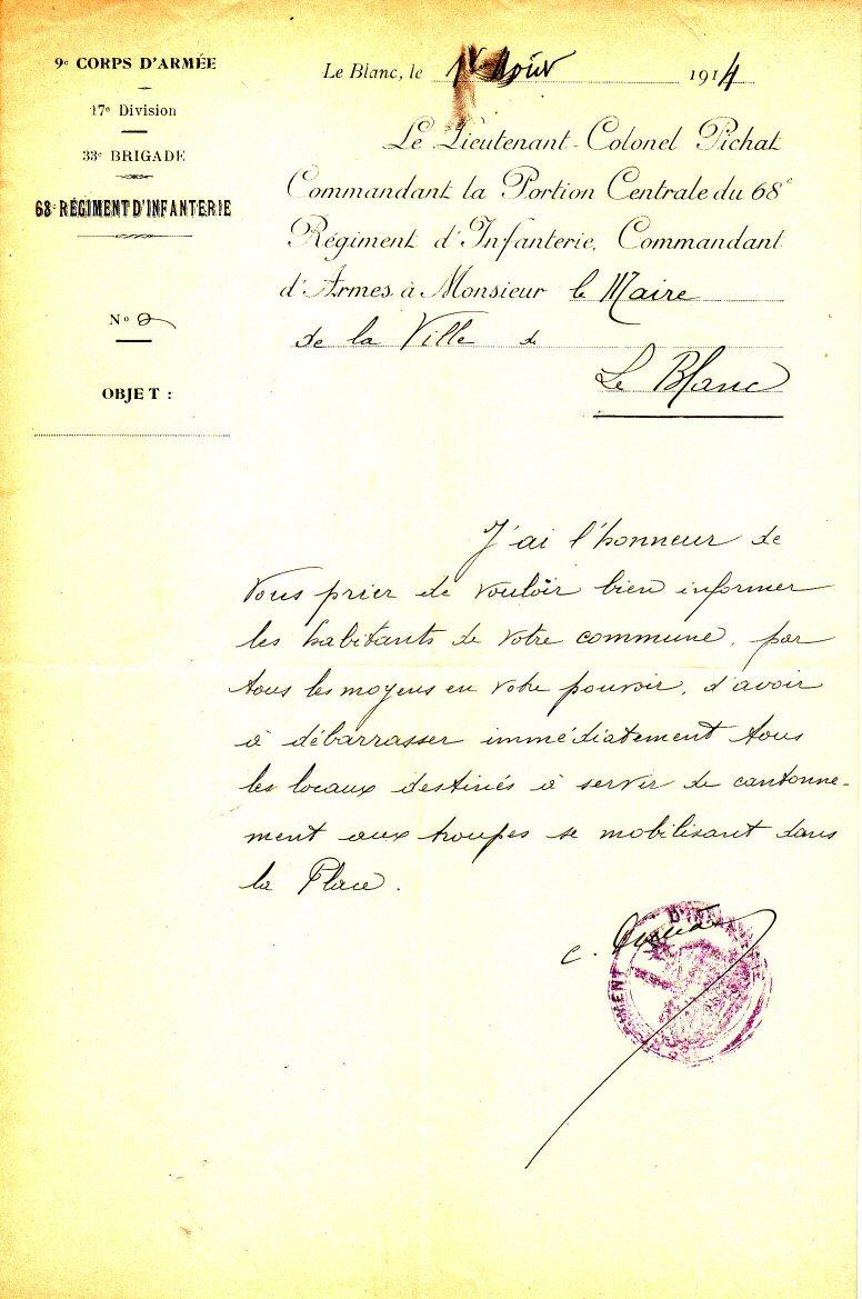 Préparer les locaux pour le cantonnement des troupes 1/8/1914