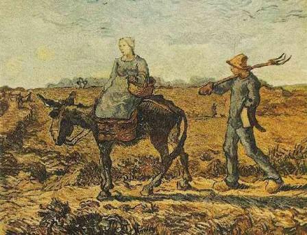 Couple de paysans chemin du travail