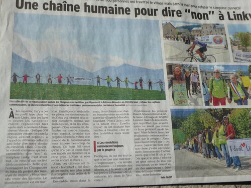 """Le """"Dauphiné"""" : """"Une chaîne humaine pour dire """"non"""" à Linky"""""""